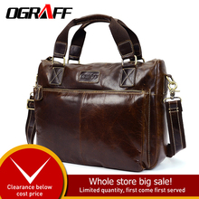 OGRAFF men handbag genuine leather bag men bags male messenger bag men shoulder bag famous brand big crazy horse leather handbag vintage crazy horse genuine leather bag men messenger bags small shoulder bags for men bag male top handle handbag