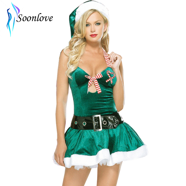 New Green Sexy Santa Mrs Claus Elf Women Christmas Costume Party Cosplay Dress  sc 1 st  AliExpress.com & New Green Sexy Santa Mrs Claus Elf Women Christmas Costume Party ...