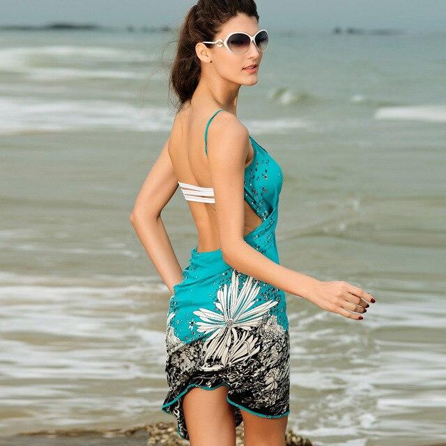 Saida de praia women summer Beach Dress Beach Cover Up Bikini Wrap Negril floral Print crossed beachwear Sarong pareo FJ41714 h2 4