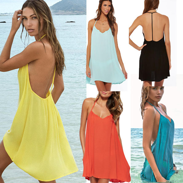 2016 backless beach dress summer dress sexy plus size women Lace V-neck  chic  clothing 5 ColorsS-XL W270