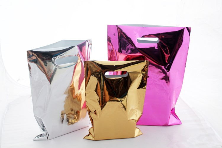 Plastic Glossy Gift Bag Shopping Mall Grocery Clothes Packaging Rose Gold Silver Foil Bags Free Shipping