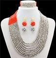 Joyería de La Boda africana Set, Africano Crystal Beads Necklace Set, Beads nigerianos Sistema de La Joyería, Collar de la Boda Africana