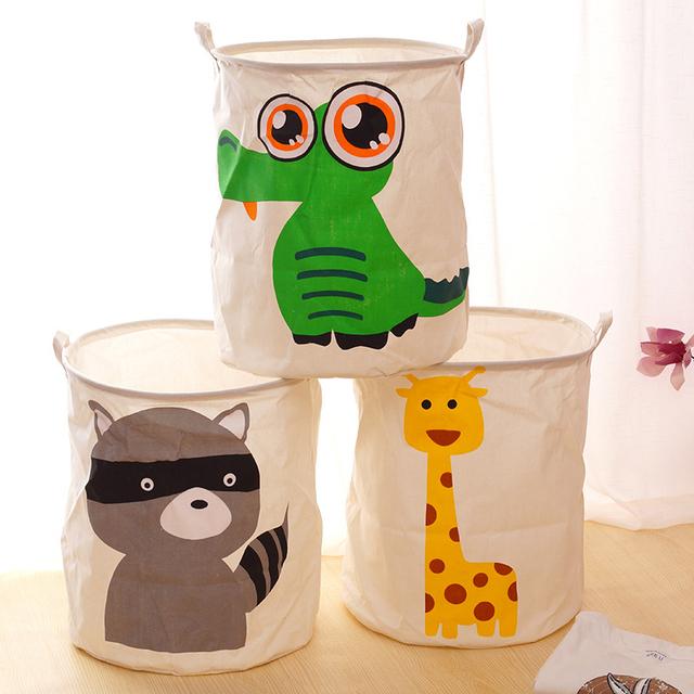 Pano de algodão porta feixe de armazenamento de barris animal dos desenhos animados brinquedo cesto de roupa suja cesto de Roupa Suja balde