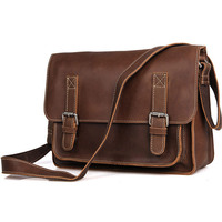 Crazy Horse Men Genuine Leather Messenger Bag Male Coffee CrossBody Bag Vintage Travel Leather Briefcases for IPAD