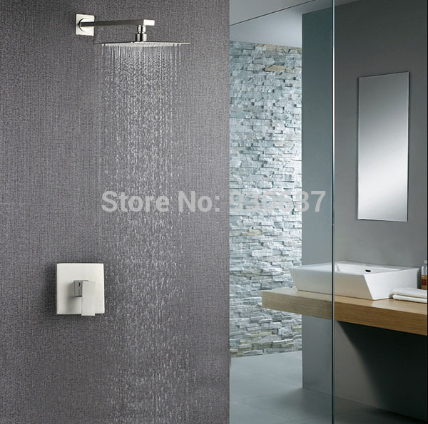 ФОТО Brushed Nickel  Wall Mounted 8'' Solid Brass Rainfall Shower Head Single Handle Shower Set Faucet