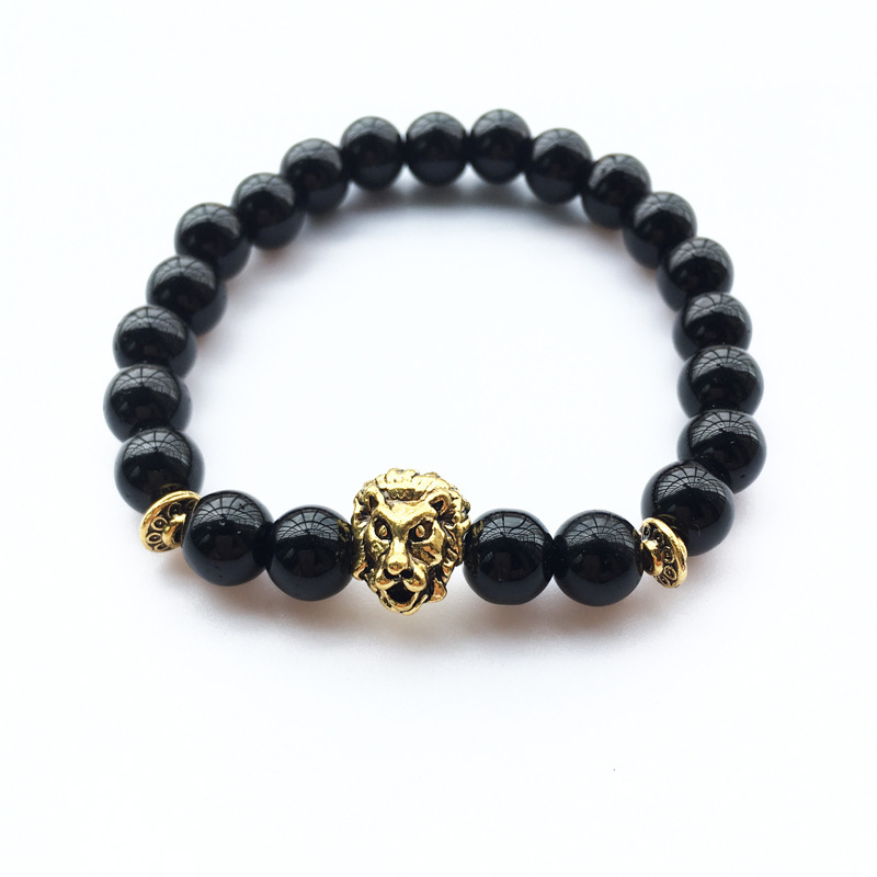 5 Styles Lava Stone Gold Lion Head Bracelets for Best Friend Buddha Chakra Yoga Bracelet Femme Braslet Men Jewelry Pulseira