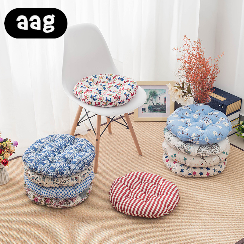 AAG Linen Seat Cushion Japan Style Round Thick Cotton