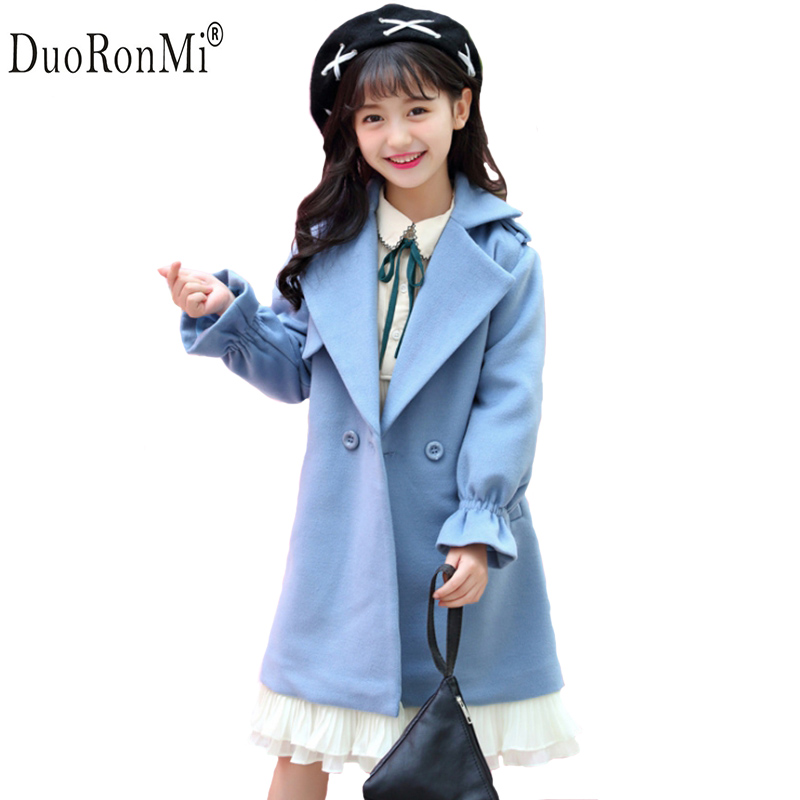 Girl Autumn Winter Woolen Coat New Fashion Brand Baby Girls Lace Splicing Coat Jacket Children Outwear Trench Coat With Belt недорого