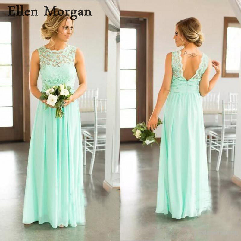 Us 8989 11 Offmint Green Chiffon Lace Bridesmaid Dresses For Wedding Party Adult Girls Boat Neck Floor Length Long Cheap Formal Gowns 2019 In