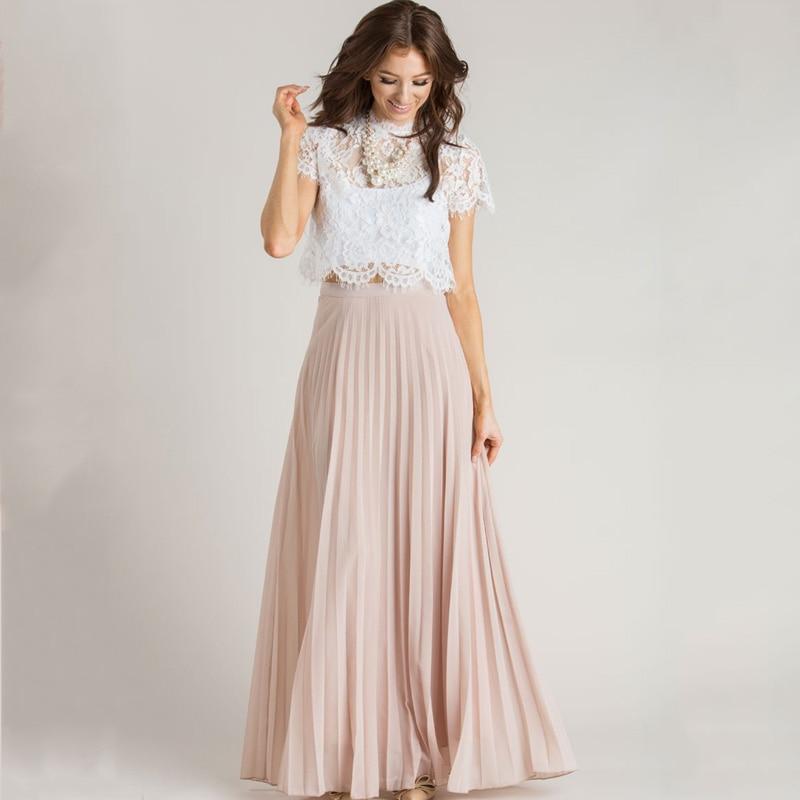 Dusty Pink Women Chiffon Maxi Skirts Zipper Waist A Line