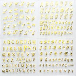 Image 1 - 24 גיליונות/חבילת זהב צבע מסמר אמנות 3D מדבקות DIY מדבקות רהוט אלפבית אנגלית מכתבי עיצוב נייל מדבקה נשים אופנה