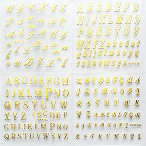 Image 1 - 24 Sheets/pack Gold Color Nail Art 3D Decal DIY Stickers Cursive Alphabet English Letters Design Nail Sticker Women Fashion