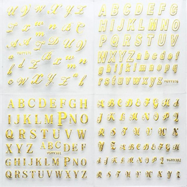 24 Sheets/pack Gold Color Nail Art 3D Decal DIY Stickers Cursive Alphabet English Letters Design Nail Sticker Women Fashion