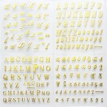 24 Sheets/pack Gold Kleur Nail Art 3D Decal DIY Stickers Cursief Alfabet Engels Letters Ontwerp Nail Sticker Vrouwen mode