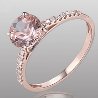 HELON Round 8mm Solid 10K Rose Gold 1.27ct 100% Genuine Morganite Pave Diamonds Women Jewelry Engagement Wedding Ring wholesale