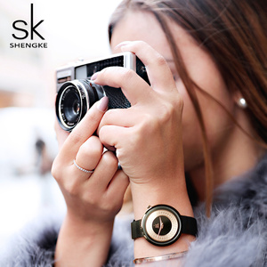 Image 3 - Женские наручные часы Shengke, женские модные часы с металлической сеткой, Винтажный дизайн, женские часы, роскошный бренд, Классические наручные часы