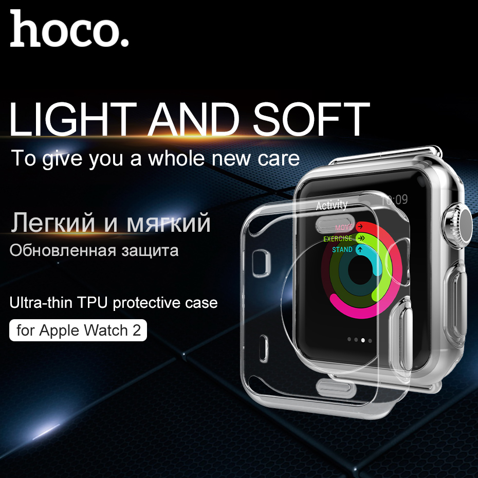 HOCO original Shell for Apple Watch Series 3 2 Soft Transparent Case Ultra Thin Clear Protective Cover Protection Smart Watch все цены