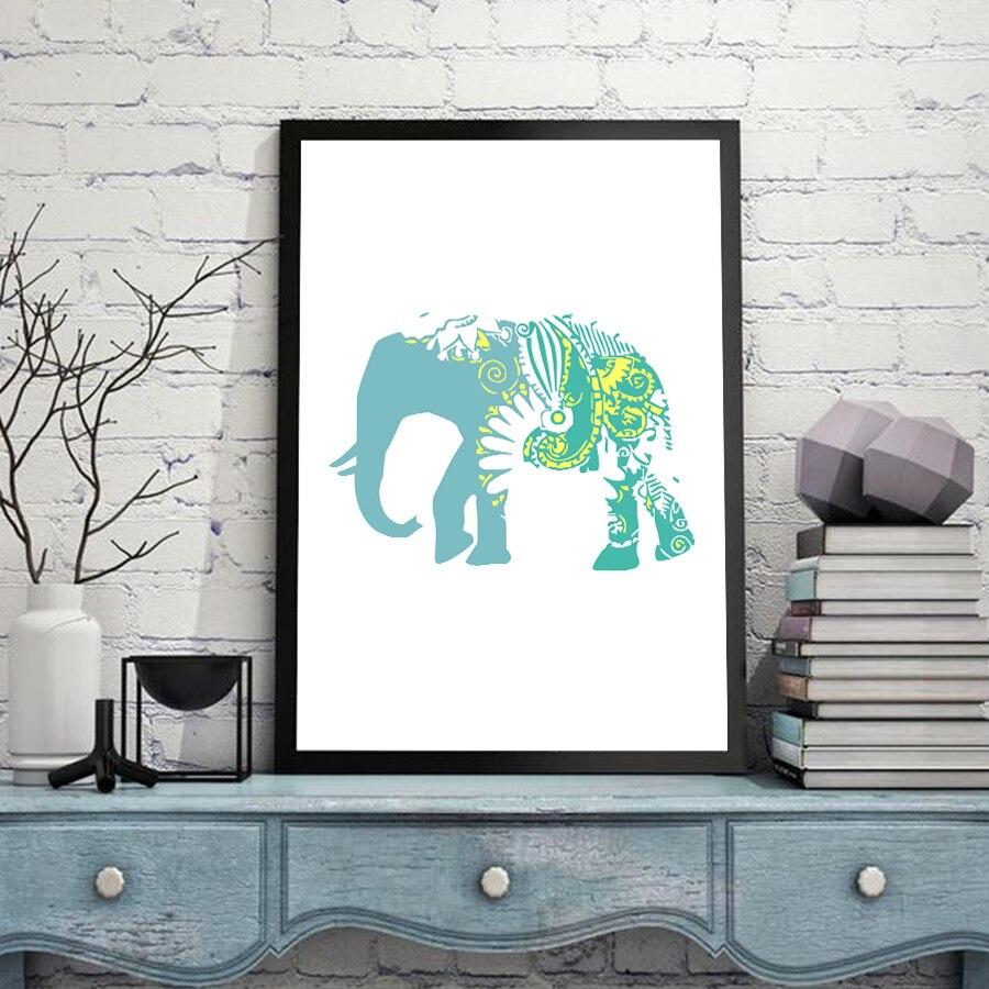 Religion Mandalas Animals Elephant Canvas Art Print Painting Wall ...