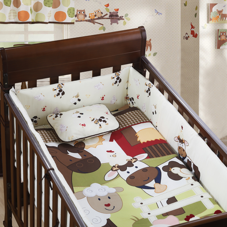 7PCS Embroidery Crib Baby Bedding Set for Crib Newborn Baby Bed Linens for Girl Boy Cartoon ,include(bumper+duvet+sheet+pillow) promotion 6pcs embroidery baby newborn bed crib sheet sets children bedding boy girls include bumper duvet bed cover