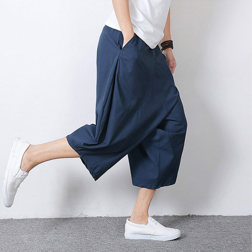 Men Pants Harem Male Trousers Cotten Linen Calf-length Pants Chinese Style Baggy Loose Drop Crotch Cropped Oversized 201-887