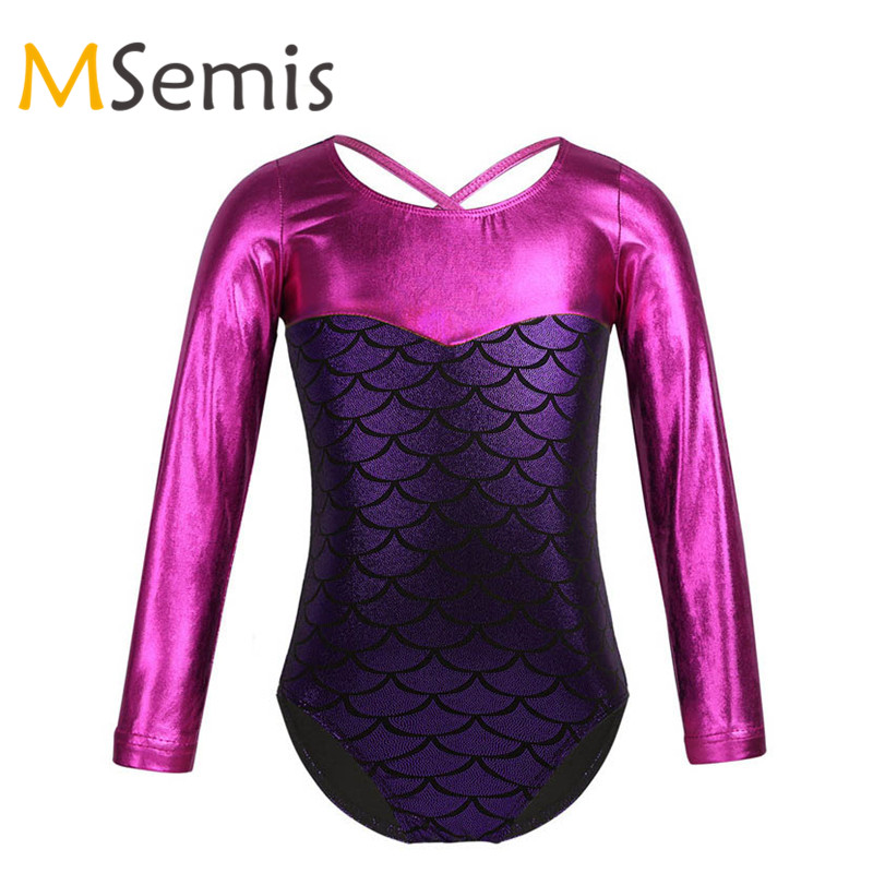 Kids Girls Ballet Leotard Gymnastic Swimsuit For Girls Glittery Scales Printed Splice Ballet Gymnastics Leotard Ballet Clothing