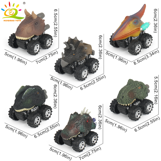 HUQIBAO TOYS 1pcs Mini Dinosaur model Pull Back Cars Fast Big Tire Wheel Vehicles Truck Boys Toys for Children Play with Friends
