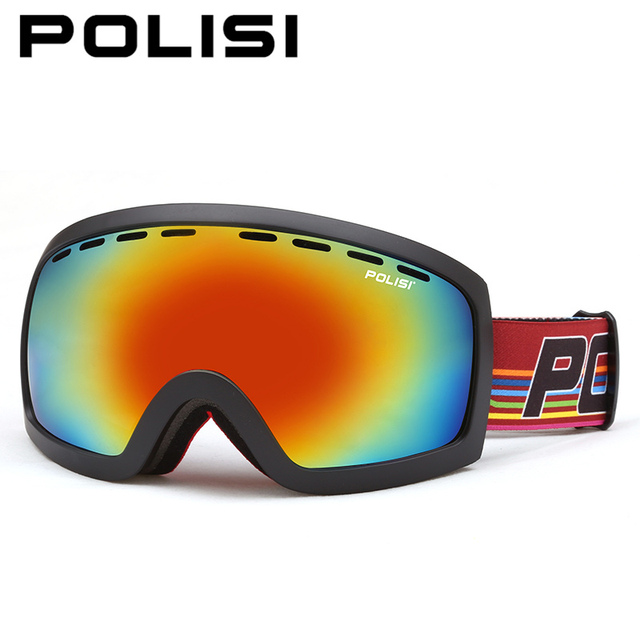 b5b3de6b2aa POLISI Professional Snowboard Goggles Double Layer Anti-Fog Lens Ski Snow  Glasses Winter UV400 Mountaineering