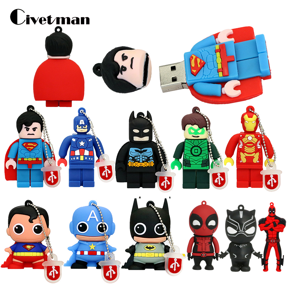 Pen-drive Cartoon Super Heros USB Flash Drive Batman/Superman Pen Drive 8GB 16GB 32GB Memory Stick 64GB 128GB Pendrives Deadpool