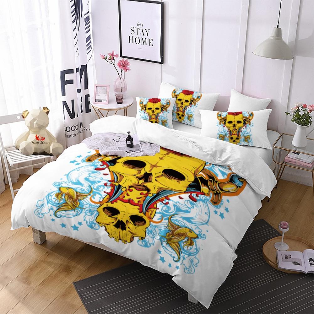 Aliexpress Com Buy Gold Skull Comforter Bedding Sets