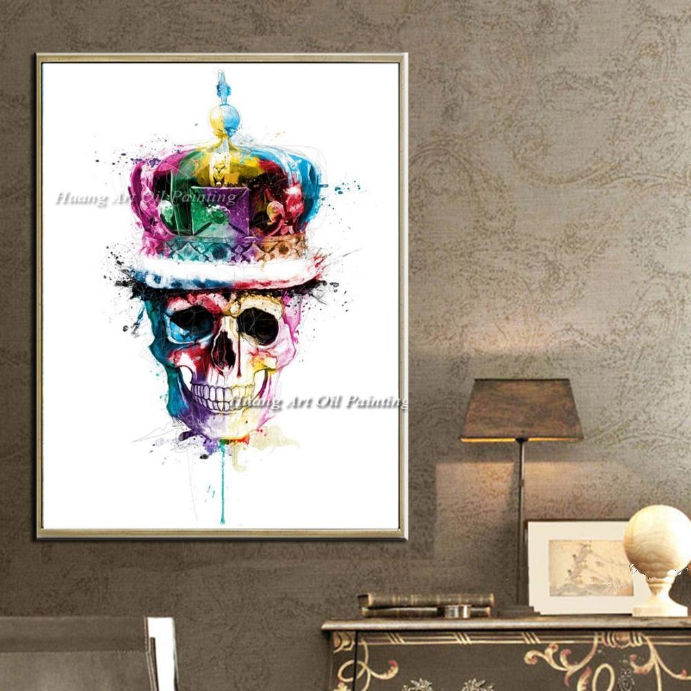 Ročno poslikana moderna skeletna oljna slika Okrasna slika Izvleček - Dekor za dom - Fotografija 4