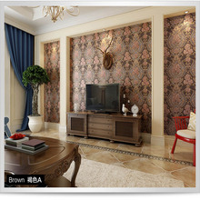 European Deep Embossed Damascus Wall Paper 3d Living Room Bedroom Background  Waterproof Flower Wallpaper for Wals In Rolls