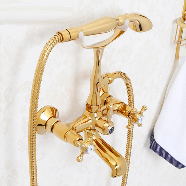 Bath Style European Style Brass Cold And Hot Mixer Antique Bathtub Faucet  Set Golden Wall Type