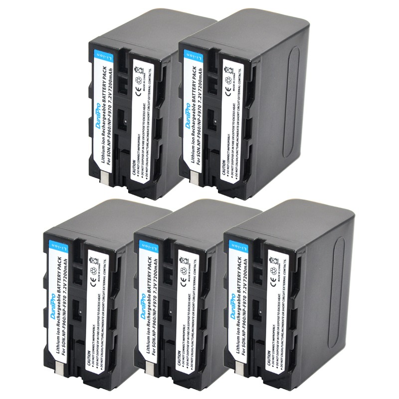 5pcs 7200mAh NP-F960 NP-F970 NP F960 F970 NPF970 Battery for Sony CCD-RV100 CCD-TRV58 DCR-TRV110K DCR-VX1000 VX2000 VX2100 np f960 f970 6600mah battery for np f930 f950 f330 f550 f570 f750 f770 sony camera