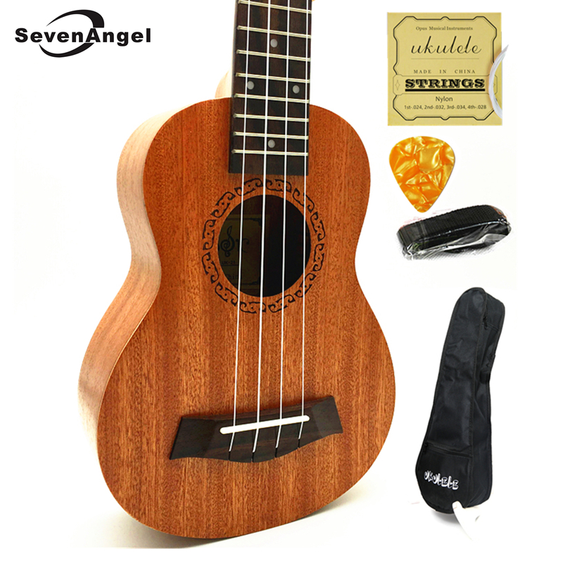 SevenAngel High Quality Electric Ukulele Tenor Concert Soprano 4 Strings Hawaiian Guitar Mahogany Acoustic Ukelele  Pick Up EQ soprano concert tenor ukulele 21 23 26 inch hawaiian mini guitar 4 strings ukelele guitarra handcraft wood mahogany musical uke