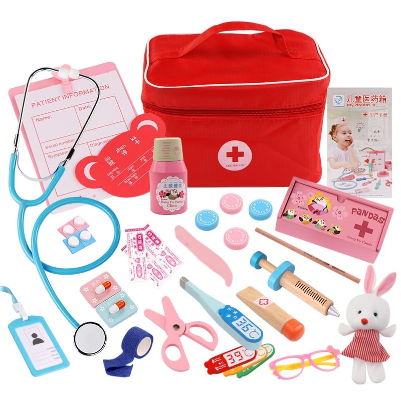 Kids Pretend Play Wood Doctor Toys Red Medical Kit Dentist Medicine Box Sets Cloth Bag Packing Games Toys For Children Girls Boy