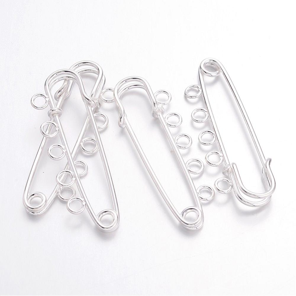Pandahall 5pcs Iron Kilt Pins Brooch Findings Silver 16x50mm ( about 0.62x1.96) Fit Craft DIY Findings Accessories Supplies