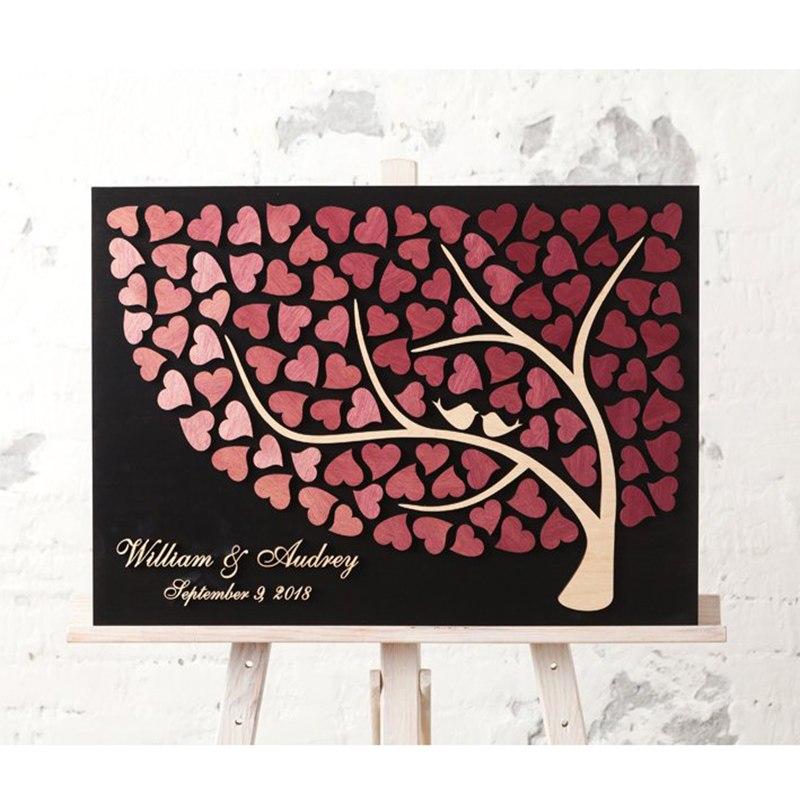 Livre d'or de mariage personnalisé arbre Unique en bois livres d'or avec coeurs personnalisé 3D livre d'or arbre oiseaux d'amour
