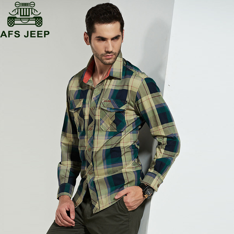 Afs Jeep Brand Shirt Men Casual Shirts 100% Cotton camisa masculina Army Military Shirt Men Plus Size M-4XL camiseta masculina