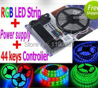 5050 LED Strip RGB 5M/Roll 300 LEDS IP65 Led Diode Tape Waterproof RGB LED strip 44 keys IR Remote+12V 6A Power Adapter
