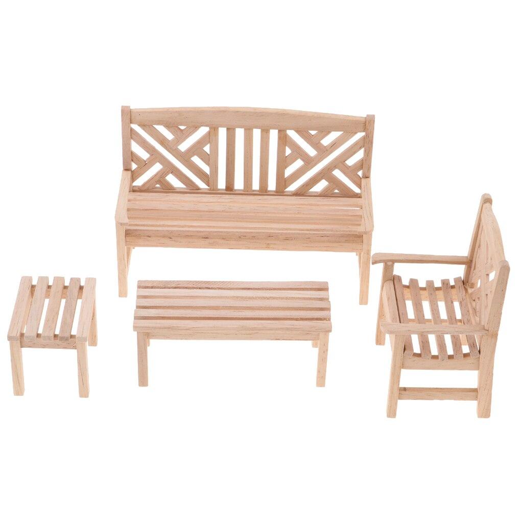 Tremendous Us 12 23 48 Off 1 12 Dollhouse Miniature Unpainted Furniture Garden Park Decor Bench Chair Table Stool Set Kids Pretend Play Toy In Furniture Toys Machost Co Dining Chair Design Ideas Machostcouk