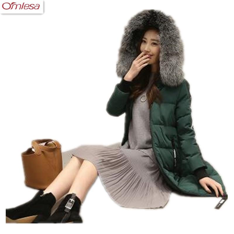 OMLESA Winter jacket Women 2017 Mid-long Thicken Warm cotton-padded Down Parkas Coat Faux Fur Collar Hooded Jacket ZA393