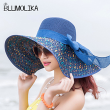 Hot Sale Summer Straw Hat Women Big Wide Brim Beach Sun Foldable Block UV Protection Panama Dot Colorful Girls