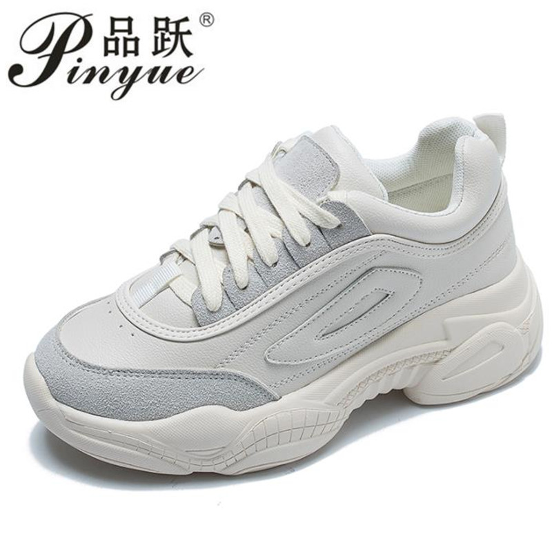 new 2019 Shoes White Shoe Women Fashion Retro Platform Sneaker Lady Autumn footwear  Breathable chaussure Soft