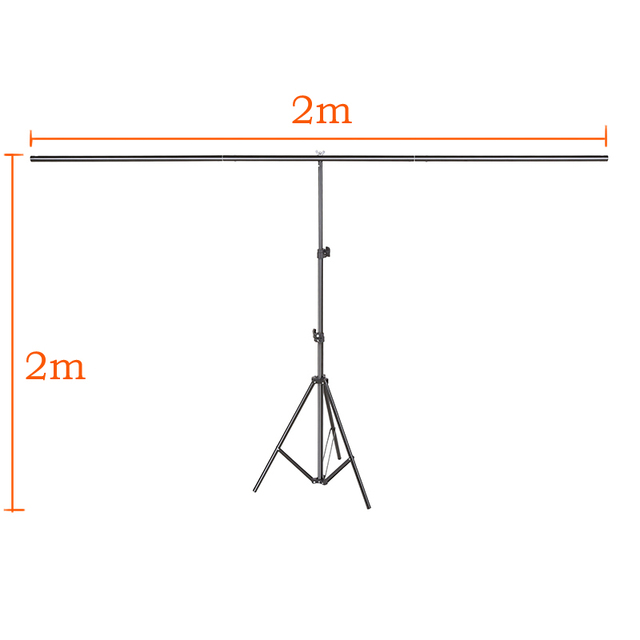 Photography Backdrop Background Support Stand System Metal with 3 clamps 200cm X 200cm