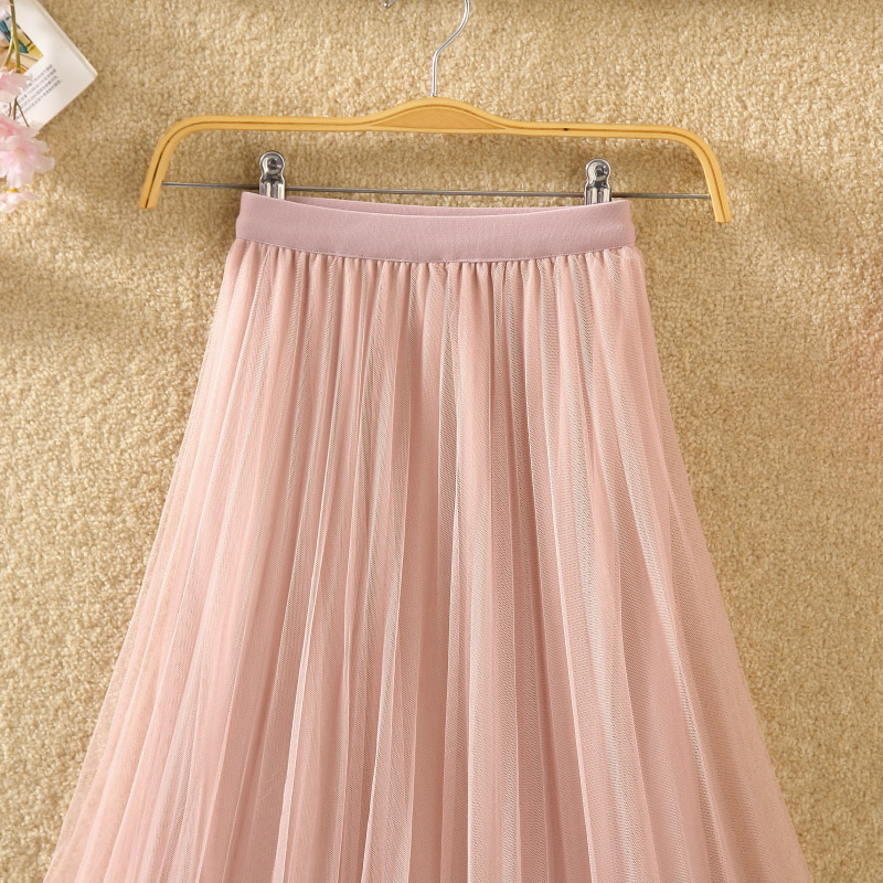 HTB1qXxVPhTpK1RjSZR0q6zEwXXaQ - New Spring Summer Skirts Womens Beading Mesh Tulle Skirt Women Elastic High Waist A Line Mid Calf Midi Long Pleated Skirt