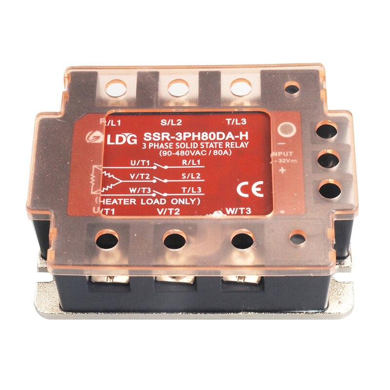 SSR-3PH80DA-H 2 pièces 3 triphasé AC relais à semi-conducteurs indicateur LED entrée 4-32VDC sortie 90-480VAC 80A DC à AC SSR relais