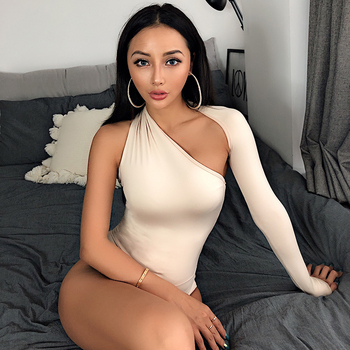 5 Color One Shoulder Sexy Bodysuits Women Sale Halter Scoop Back Skinny Tight Playsuits One Sleeve Top Club Blouse Beachwear 2