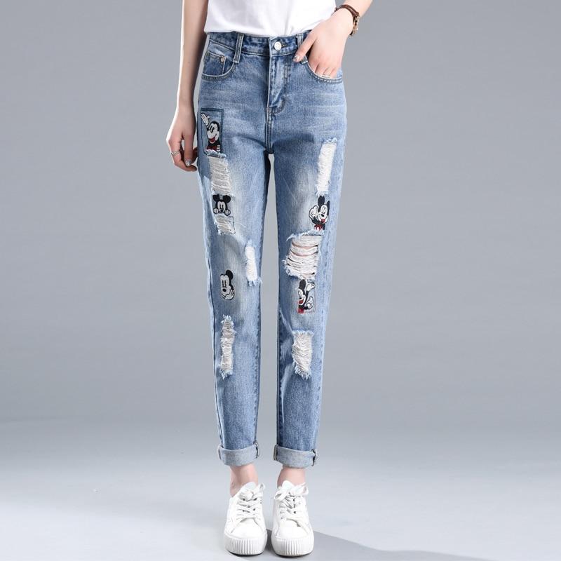 ФОТО Women Mickey Women's Clothing Jeans Woman Skinny Trousers Jeans Hole Womens Pantalones Mujer Colored Jeans Perfume 212 Feminino