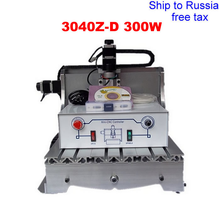 3040Z-D300W CNC drilling and milling machine with ball screw and 300W DC power spindle for wood working to Russia free tax