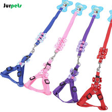 Fashionable Pet Accessories Nylon Dog Harness Leash Cute Puppy Vest Harness Traction Rope Dogs Leash Chain With Bowknkot
